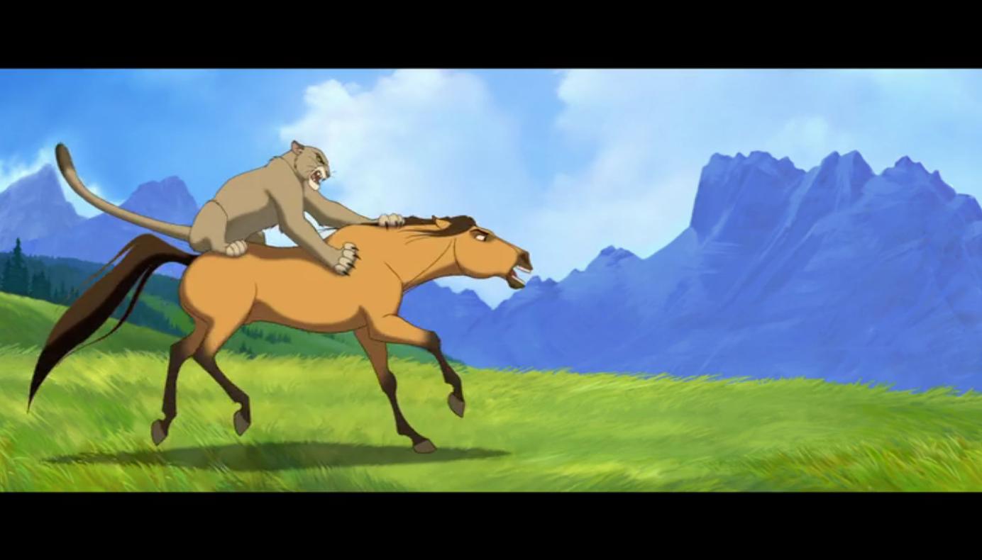 Leão da montanha atacando Spirit