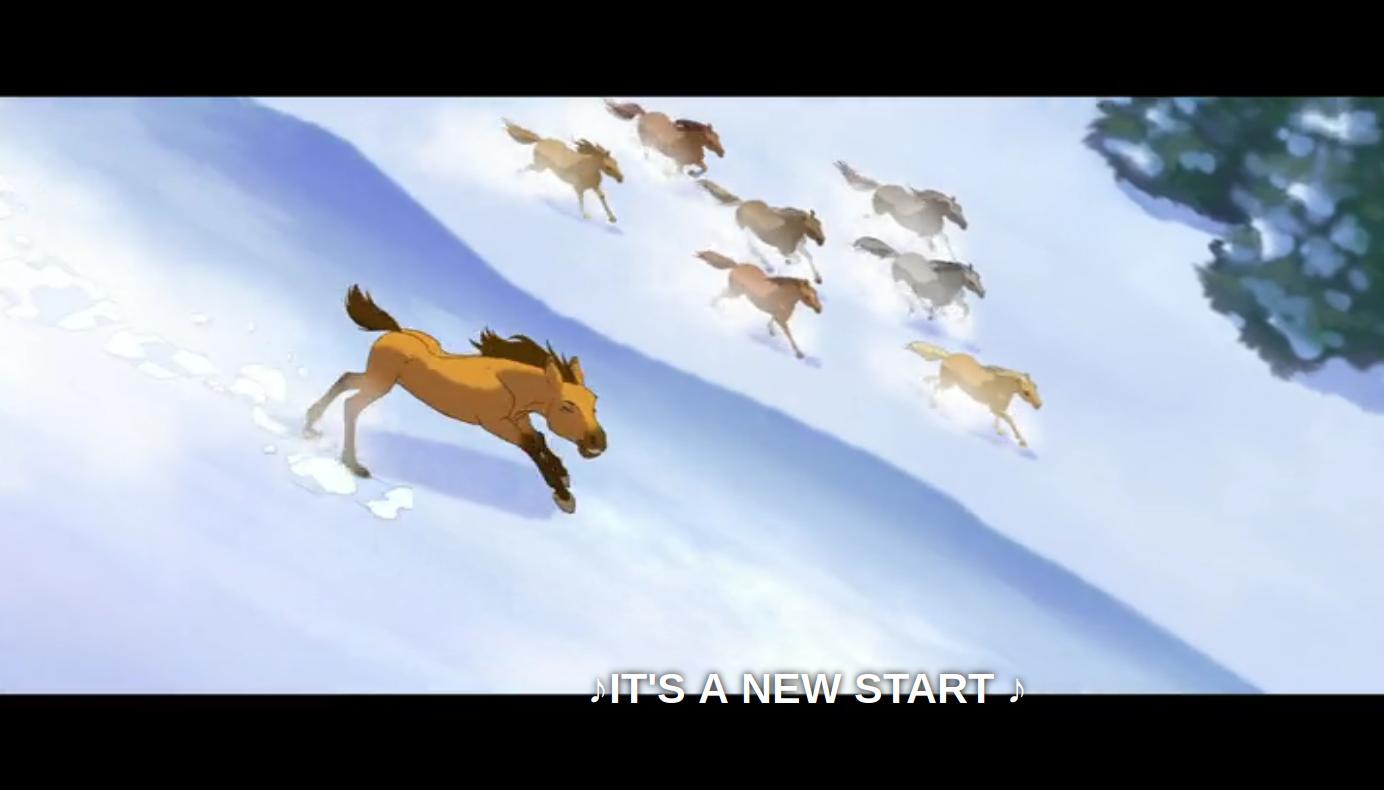 Spirit correndo com a manada