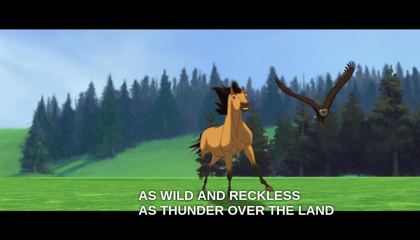 Spirit correndo atrás de uma águia